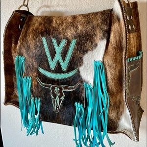 Turquoise fringe Cowhide cow skull leather bag